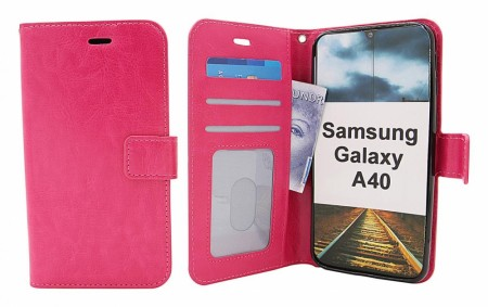Crazy Horse Wallet Samsung Galaxy A40 (A405FN/DS) - Hotpink