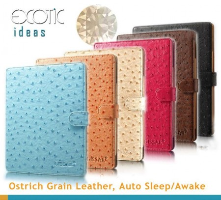 Grain leather Case for iPad 2 og 3 - Oransje