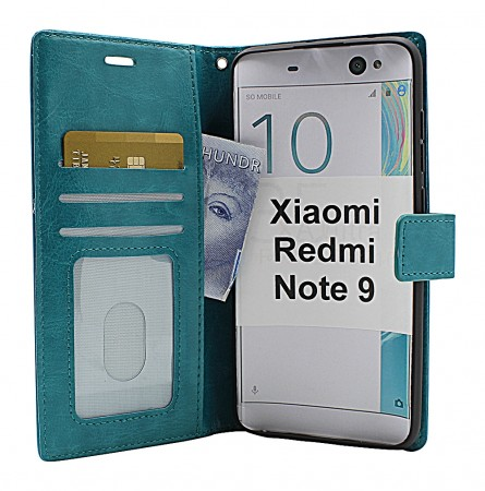 Xiaomi Redmi Note 9 - Crazy Horse Wallet - Turkis