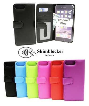 Skimblocker Lommebok-Etui iPhone 7 Plus - Hotpink