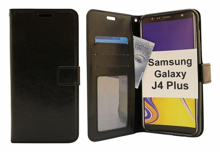 Samsung Galaxy J4 Plus - Crazy horse Wallet - Sort